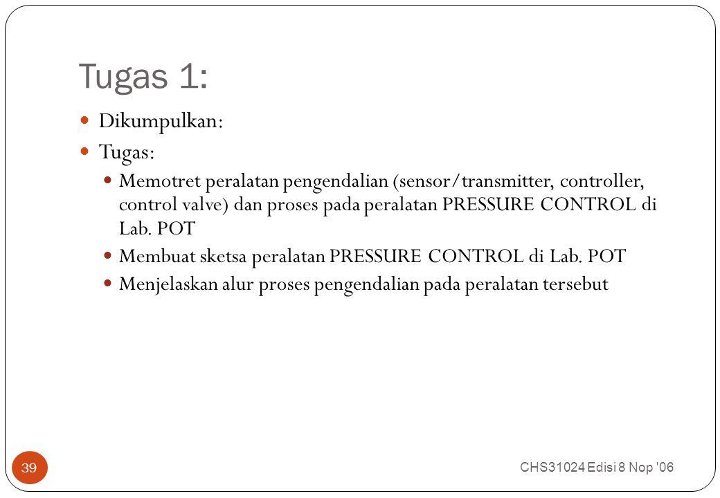 Tugas 1: CHS31024 Edisi 8 Nop 06 39 Dikumpulkan: Tugas: Memotret peralatan pengendalian (sensor/transmitter, controller, control valve) dan proses pada peralatan PRESSURE CONTROL di Lab.