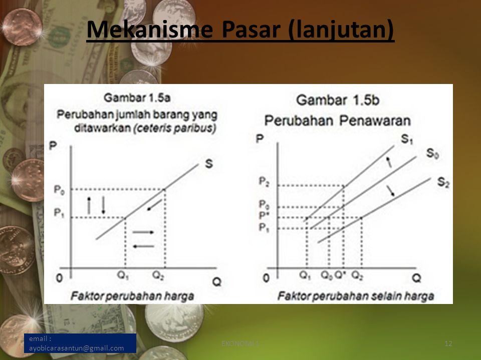 Mekanisme Pasar (lanjutan) email : ayobicarasantun@gmail.com EKONOMI 112