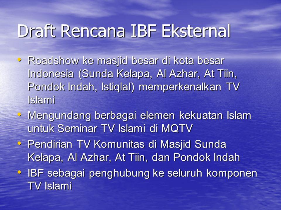 Draft Rencana IBF Eksternal Roadshow ke masjid besar di kota besar Indonesia (Sunda Kelapa, Al Azhar, At Tiin, Pondok Indah, Istiqlal) memperkenalkan TV Islami Roadshow ke masjid besar di kota besar Indonesia (Sunda Kelapa, Al Azhar, At Tiin, Pondok Indah, Istiqlal) memperkenalkan TV Islami Mengundang berbagai elemen kekuatan Islam untuk Seminar TV Islami di MQTV Mengundang berbagai elemen kekuatan Islam untuk Seminar TV Islami di MQTV Pendirian TV Komunitas di Masjid Sunda Kelapa, Al Azhar, At Tiin, dan Pondok Indah Pendirian TV Komunitas di Masjid Sunda Kelapa, Al Azhar, At Tiin, dan Pondok Indah IBF sebagai penghubung ke seluruh komponen TV Islami IBF sebagai penghubung ke seluruh komponen TV Islami