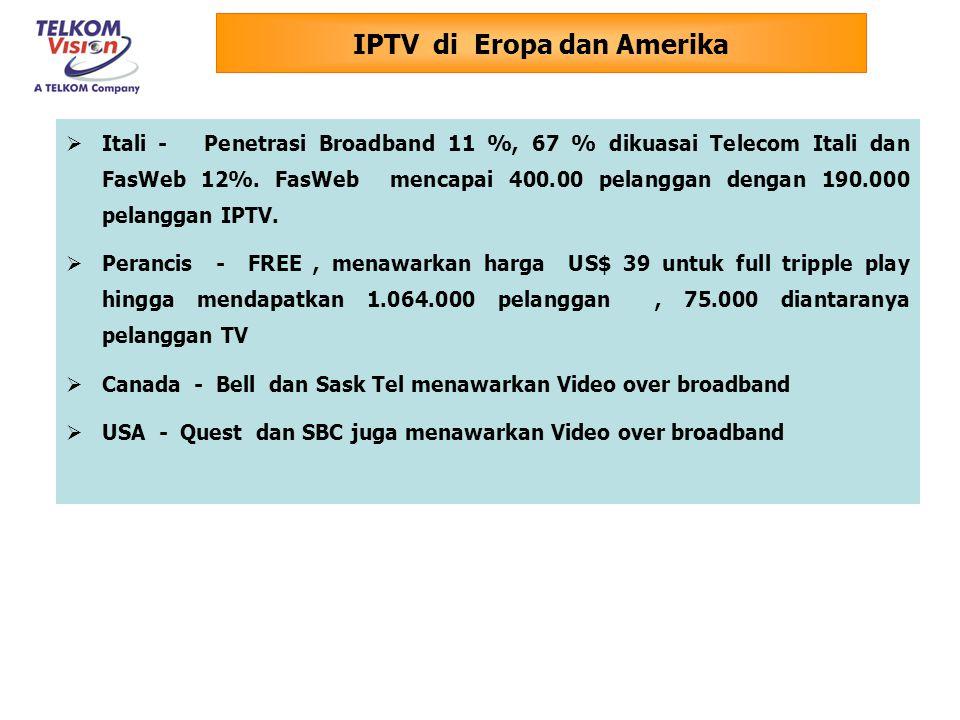 Hong Kong  PCCW NOW Broadband TV ( dengan 500.000 pelanggan IPTV )  HK Broadband ( Pay TV )  HGC ( Pay TV ) Taiwan - Chunghwa Telecom ( Pay TV / VoD ) Korea Selatan  KT – VoD ( Pay TV menyusul )  Hanaro ( VoD ) Jepang - Softbank ( VoD ) Thailand  TRUE  TT & T  TOT Singapore - SINGTEL Pakistan - PTCL IPTV di Regional Asia Pasific Operator menambahkan layanan Video dan Internet High Speed untuk meningkatkan loyalitas pelanggan dalam menghadapi kompetisi tripple play