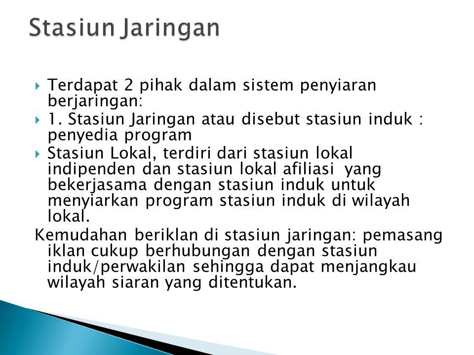  Di Indonesia terdapat 11 stasiun TV nasional yang berlokasi di jakarta  Indonesia selama bertahun-tahun menerapkan sisten penyiaran secara terpusat (sentralisasi) di mana sejumlah stasiun TV berlokasi di jakarta, tetapi mendapat hak untuk melakukan siaran secara nasional.