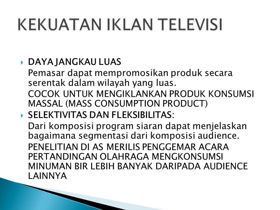  DAYA JANGKAU LUAS Pemasar dapat mempromosikan produk secara serentak dalam wilayah yang luas. COCOK UNTUK MENGIKLANKAN PRODUK KONSUMSI MASSAL (MASS
