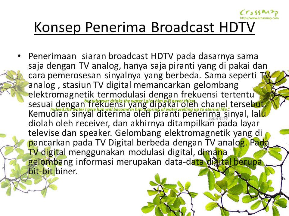 Konsep Penerima Broadcast HDTV Penerimaan siaran broadcast HDTV pada dasarnya sama saja dengan TV analog, hanya saja piranti yang di pakai dan cara pe