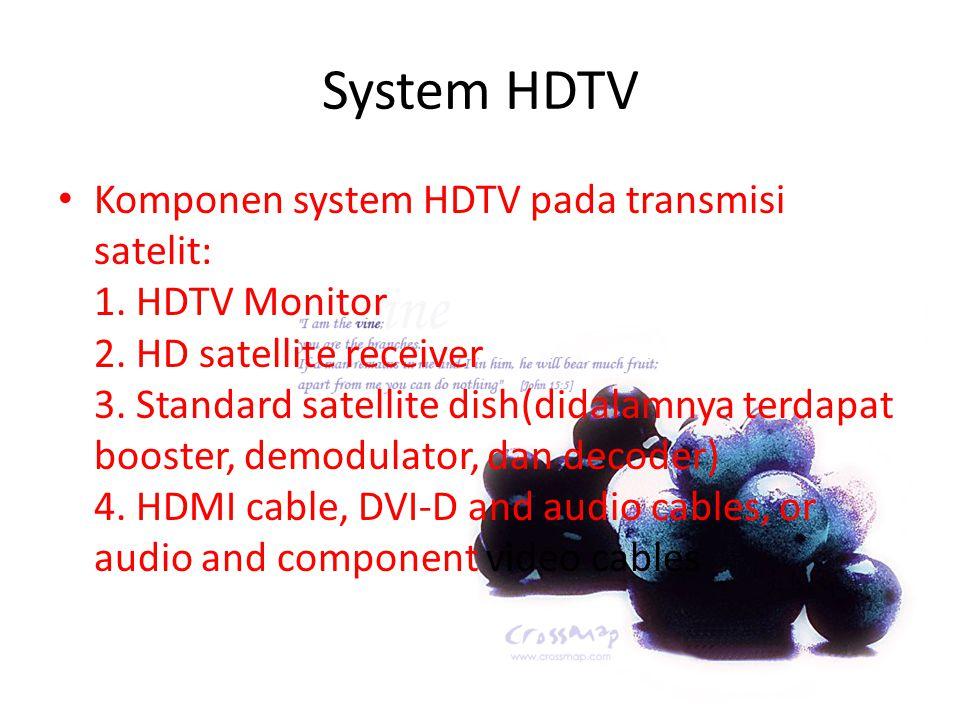 System HDTV Komponen system HDTV pada transmisi satelit: 1. HDTV Monitor 2. HD satellite receiver 3. Standard satellite dish(didalamnya terdapat boost