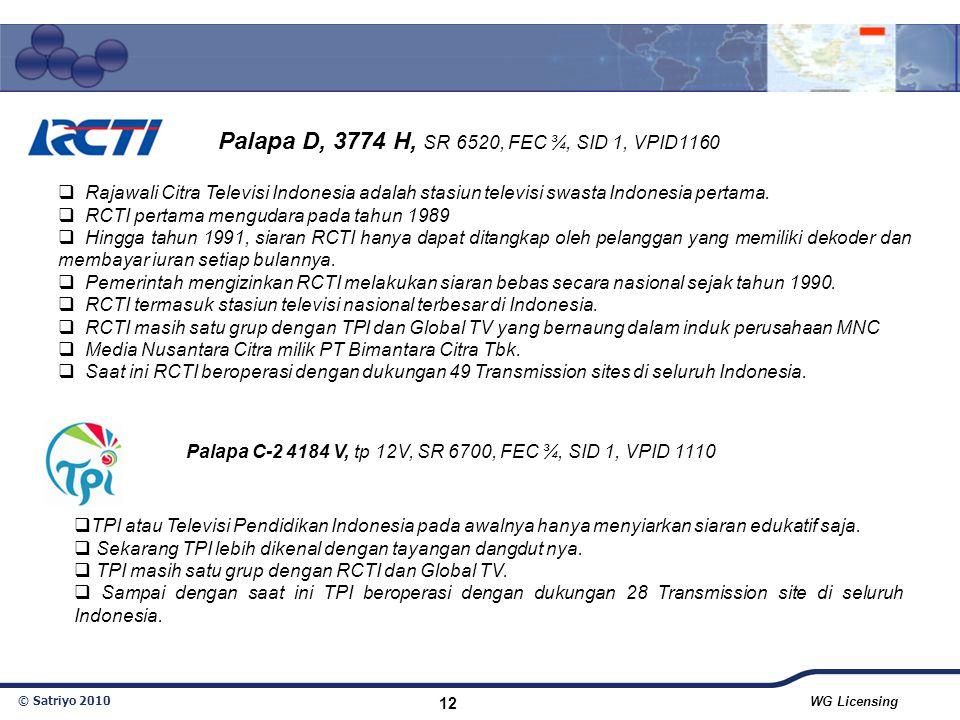 © Satriyo 2010 WG Licensing 12  Rajawali Citra Televisi Indonesia adalah stasiun televisi swasta Indonesia pertama.  RCTI pertama mengudara pada tah