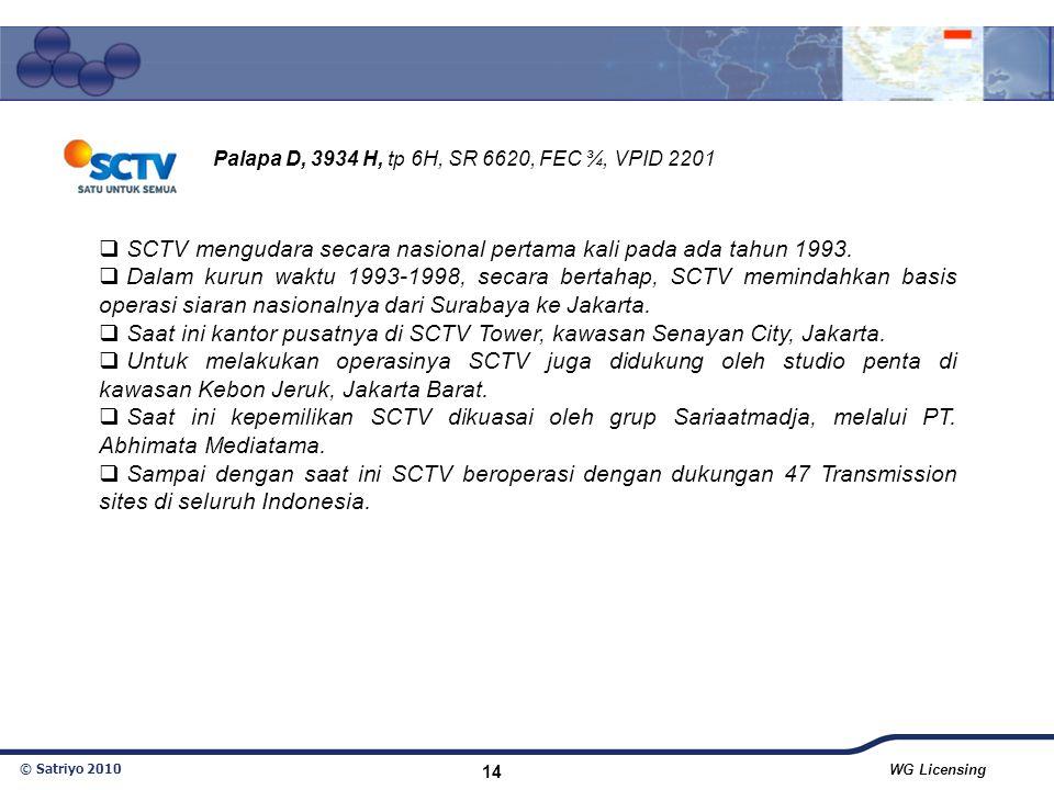 © Satriyo 2010 WG Licensing 14  SCTV mengudara secara nasional pertama kali pada ada tahun 1993.  Dalam kurun waktu 1993-1998, secara bertahap, SCTV