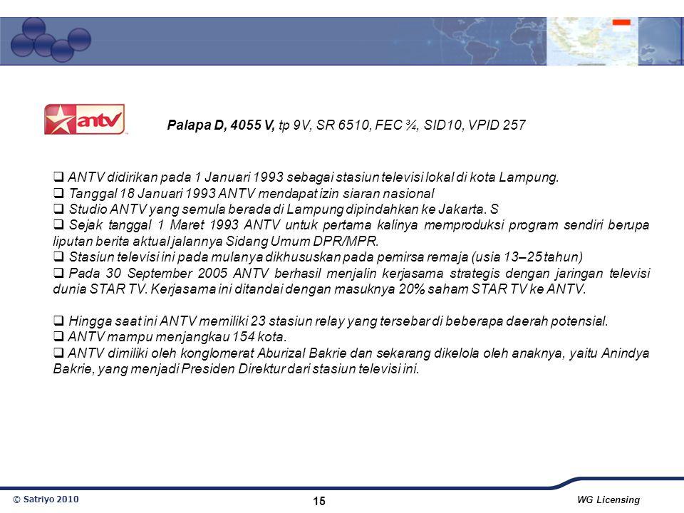 © Satriyo 2010 WG Licensing 15  ANTV didirikan pada 1 Januari 1993 sebagai stasiun televisi lokal di kota Lampung.  Tanggal 18 Januari 1993 ANTV men