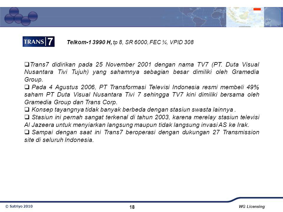 © Satriyo 2010 WG Licensing 18  Trans7 didirikan pada 25 November 2001 dengan nama TV7 (PT. Duta Visual Nusantara Tivi Tujuh) yang sahamnya sebagian