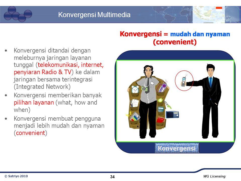 © Satriyo 2010 WG Licensing 34 Konvergensi Multimedia Konvergensi ditandai dengan meleburnya jaringan layanan tunggal (telekomunikasi, internet, penyi