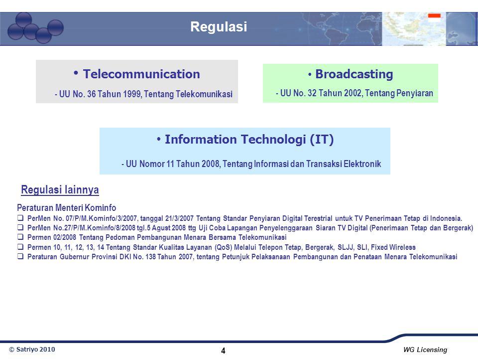 © Satriyo 2010 WG Licensing 4 Telecommunication - UU No. 36 Tahun 1999, Tentang Telekomunikasi Information Technologi (IT) - UU Nomor 11 Tahun 2008, T