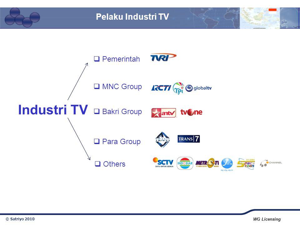 © Satriyo 2010 WG Licensing Pelaku Industri TV  Pemerintah  MNC Group  Bakri Group  Para Group  Others Industri TV