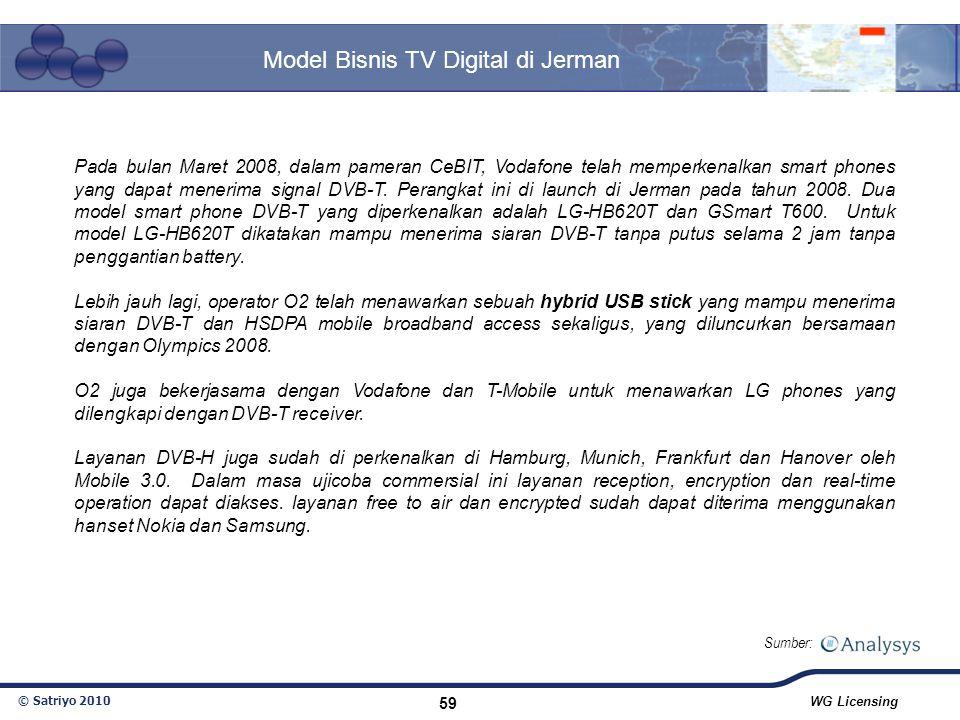 © Satriyo 2010 WG Licensing 59 Model Bisnis TV Digital di Jerman Sumber: Pada bulan Maret 2008, dalam pameran CeBIT, Vodafone telah memperkenalkan sma