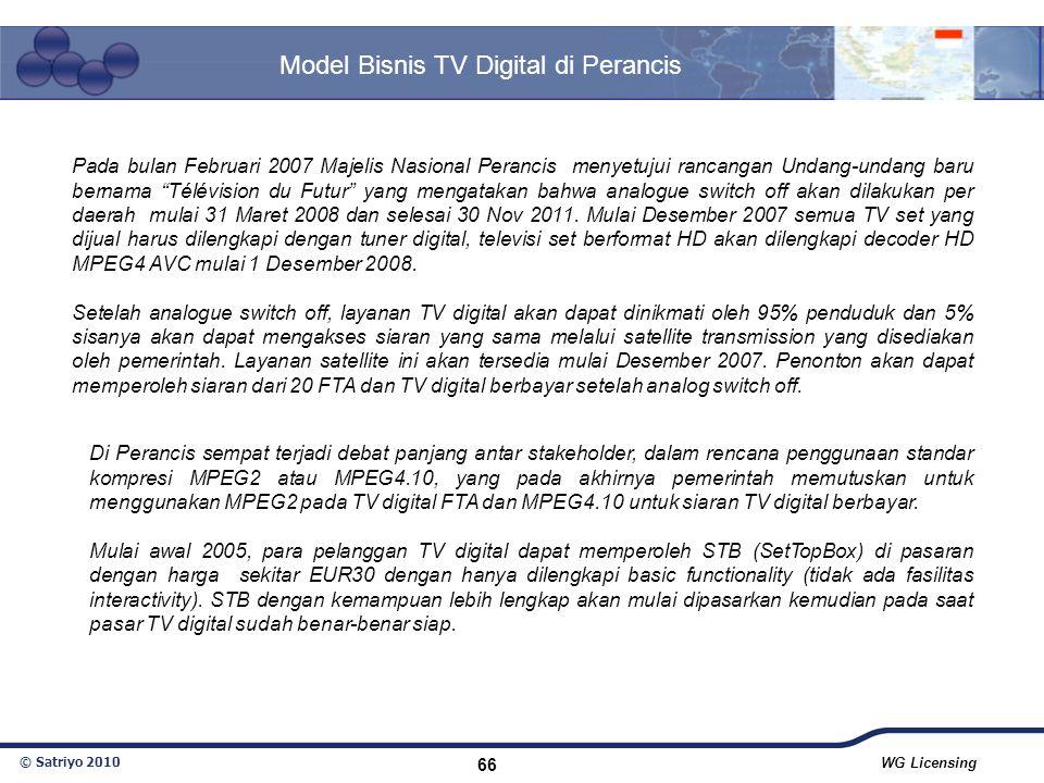© Satriyo 2010 WG Licensing 66 Model Bisnis TV Digital di Perancis Pada bulan Februari 2007 Majelis Nasional Perancis menyetujui rancangan Undang-unda