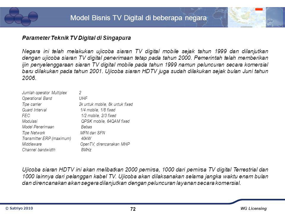 © Satriyo 2010 WG Licensing 72 Model Bisnis TV Digital di beberapa negara Parameter Teknik TV Digital di Singapura Negara ini telah melakukan ujicoba