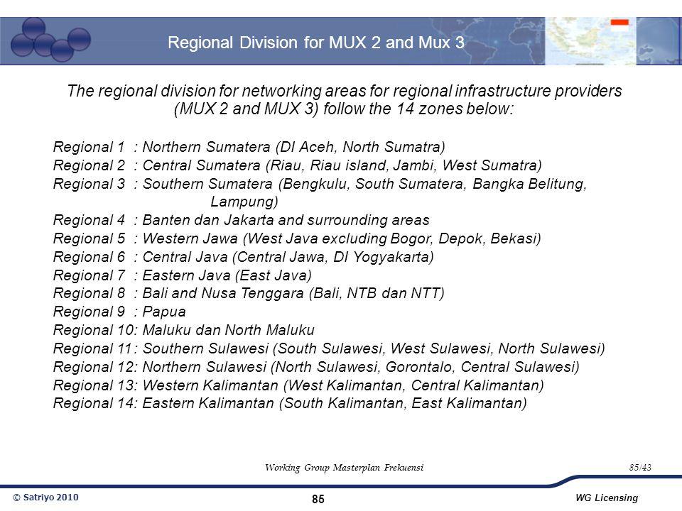 © Satriyo 2010 WG Licensing 85 Regional Division for MUX 2 and Mux 3 Working Group Masterplan Frekuensi85/43 The regional division for networking area