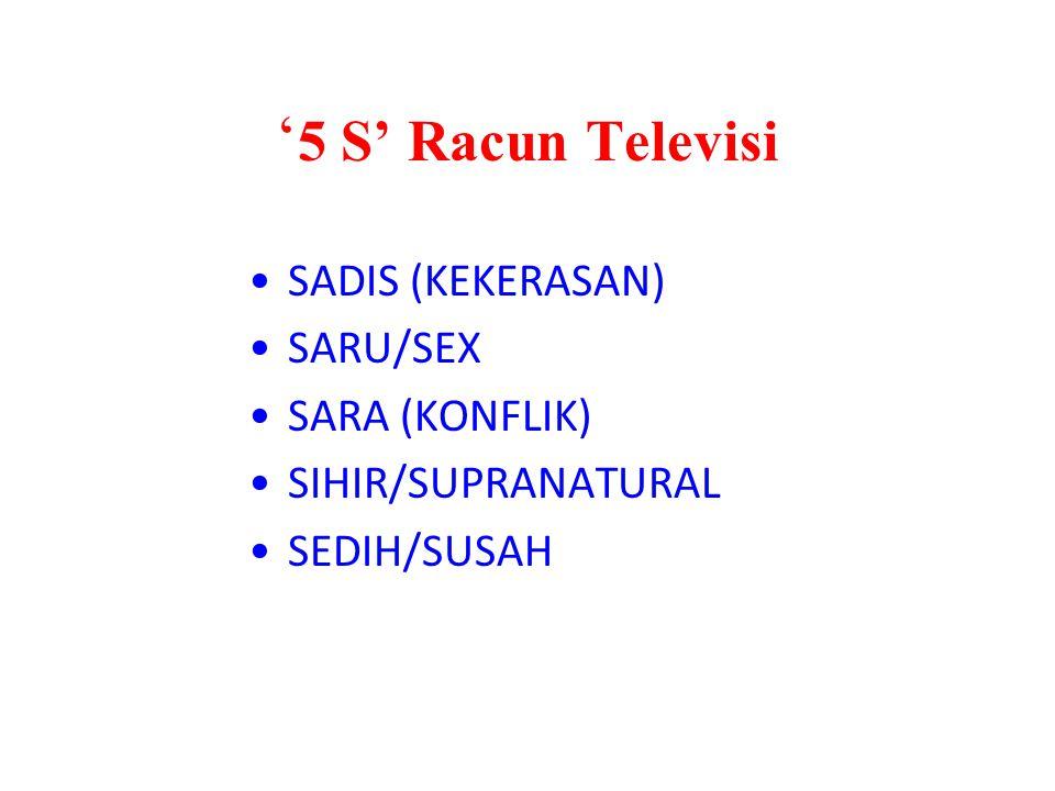 ' 5 S' Racun Televisi SADIS (KEKERASAN) SARU/SEX SARA (KONFLIK) SIHIR/SUPRANATURAL SEDIH/SUSAH