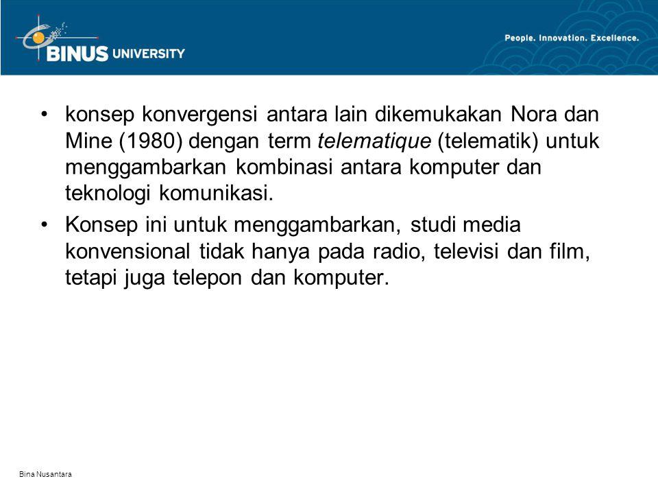 Bina Nusantara konsep konvergensi antara lain dikemukakan Nora dan Mine (1980) dengan term telematique (telematik) untuk menggambarkan kombinasi antar