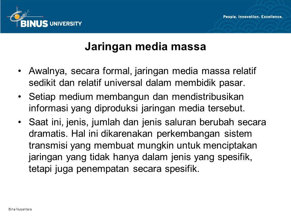 Bina Nusantara Saat ini, penempatan medium massa secara spesifik terdapat antara lain di kamar anak sekolah menengah, di supermarket,dan ruang kerja dokter.