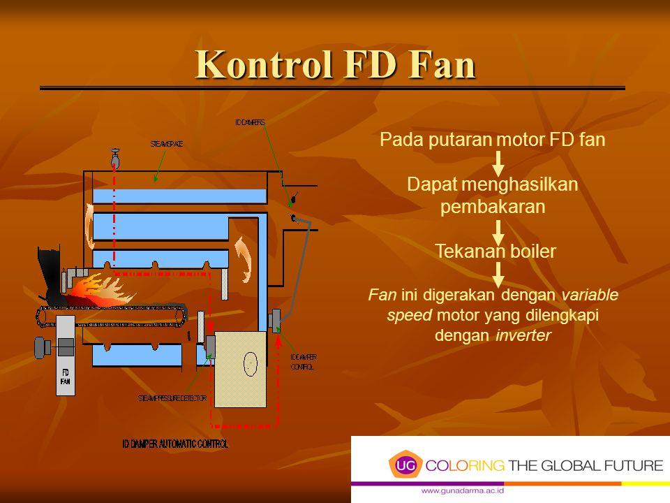 Kontrol FD Fan Pada putaran motor FD fan Dapat menghasilkan pembakaran Tekanan boiler Fan ini digerakan dengan variable speed motor yang dilengkapi dengan inverter