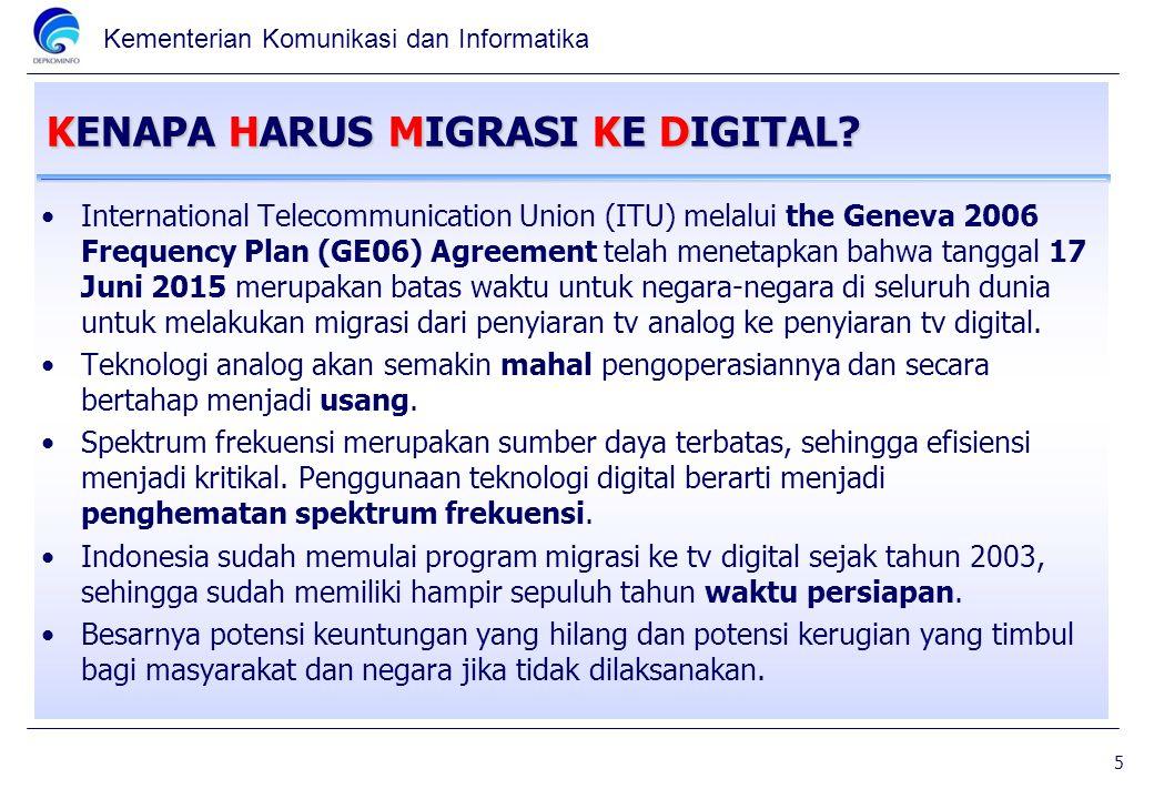 Kementerian Komunikasi dan Informatika KENAPA HARUS MIGRASI KE DIGITAL? International Telecommunication Union (ITU) melalui the Geneva 2006 Frequency
