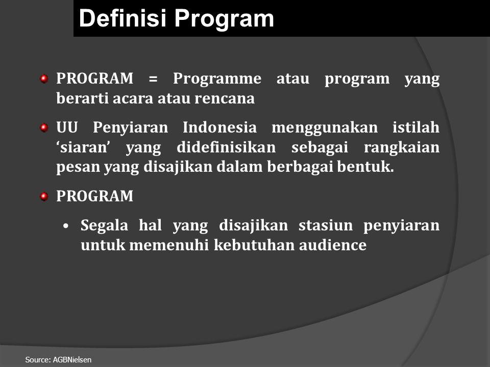 Source: AGBNielsen PROGRAM = Programme atau program yang berarti acara atau rencana UU Penyiaran Indonesia menggunakan istilah 'siaran' yang didefinisikan sebagai rangkaian pesan yang disajikan dalam berbagai bentuk.