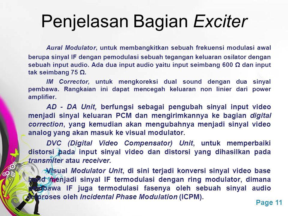 Free Powerpoint TemplatesPage 11 Penjelasan Bagian Exciter Aural Modulator, untuk membangkitkan sebuah frekuensi modulasi awal berupa sinyal IF dengan