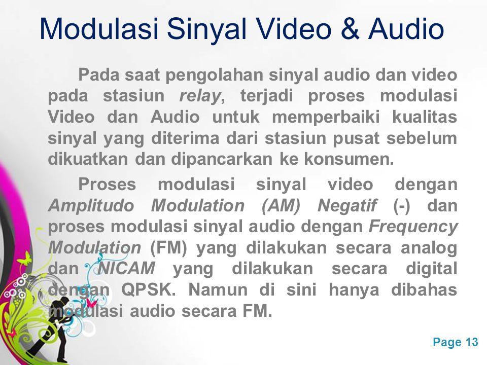 Free Powerpoint TemplatesPage 13 Modulasi Sinyal Video & Audio Pada saat pengolahan sinyal audio dan video pada stasiun relay, terjadi proses modulasi