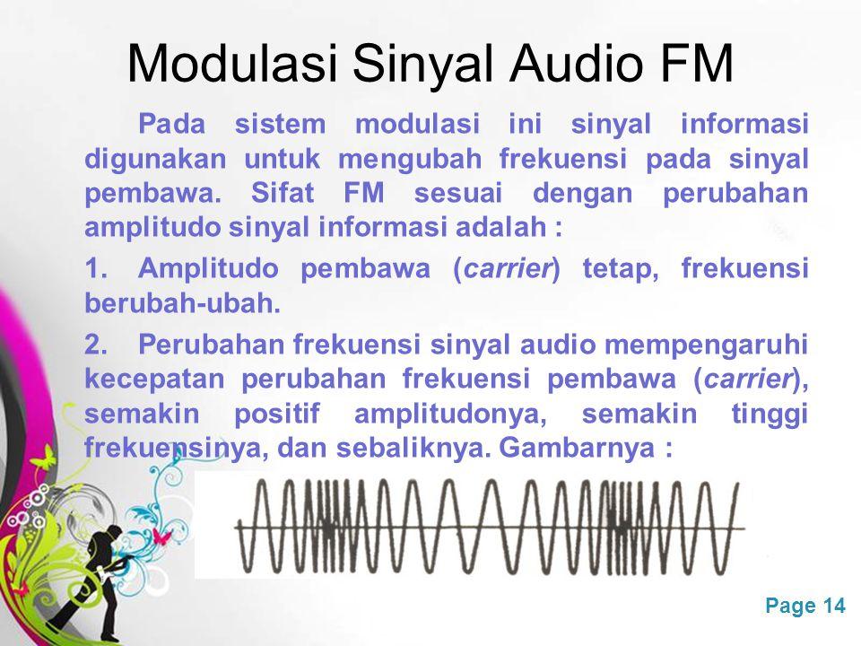 Free Powerpoint TemplatesPage 14 Modulasi Sinyal Audio FM Pada sistem modulasi ini sinyal informasi digunakan untuk mengubah frekuensi pada sinyal pem