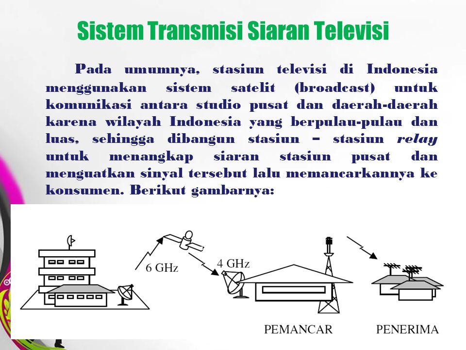 Free Powerpoint TemplatesPage 6 Sistem Transmisi Siaran Televisi Pada umumnya, stasiun televisi di Indonesia menggunakan sistem satelit (broadcast) un