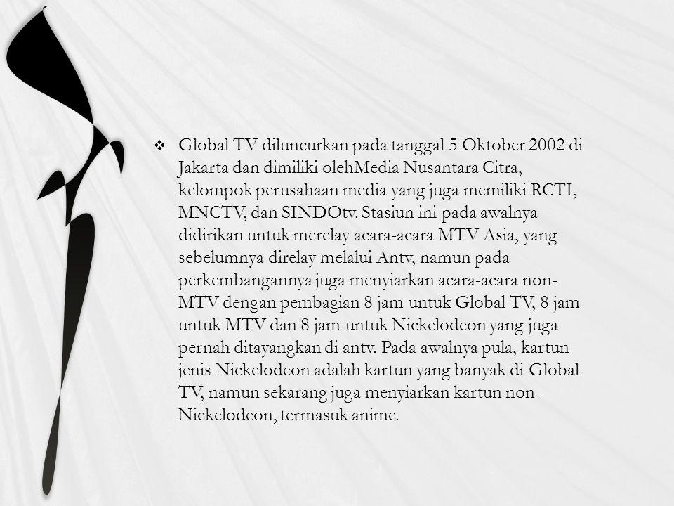  Global TV adalah salah satu stasiun televisi swasta nasional di Indonesia yang mengudara secara terestrial dari Jakarta. Berawal dari sebuah stasiun