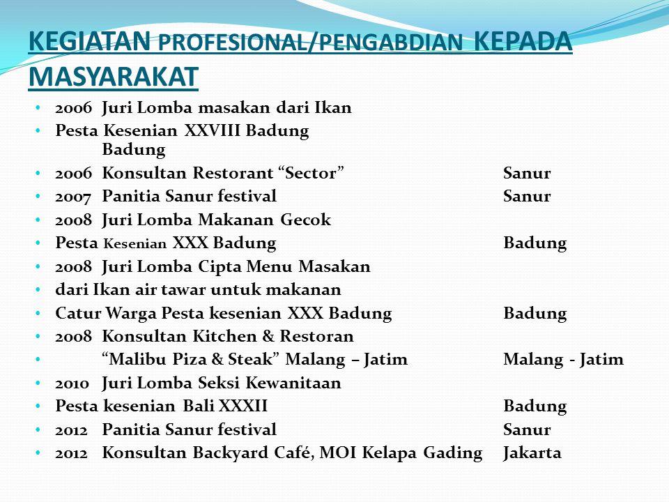 KEGIATAN PROFESIONAL/PENGABDIAN KEPADA MASYARAKAT 1995KBG-B Tingkat Kanwil Provinsi BaliDenpasar 1996Juri Lomba Makanan Pesta Kesenian Bali XVIIBadung
