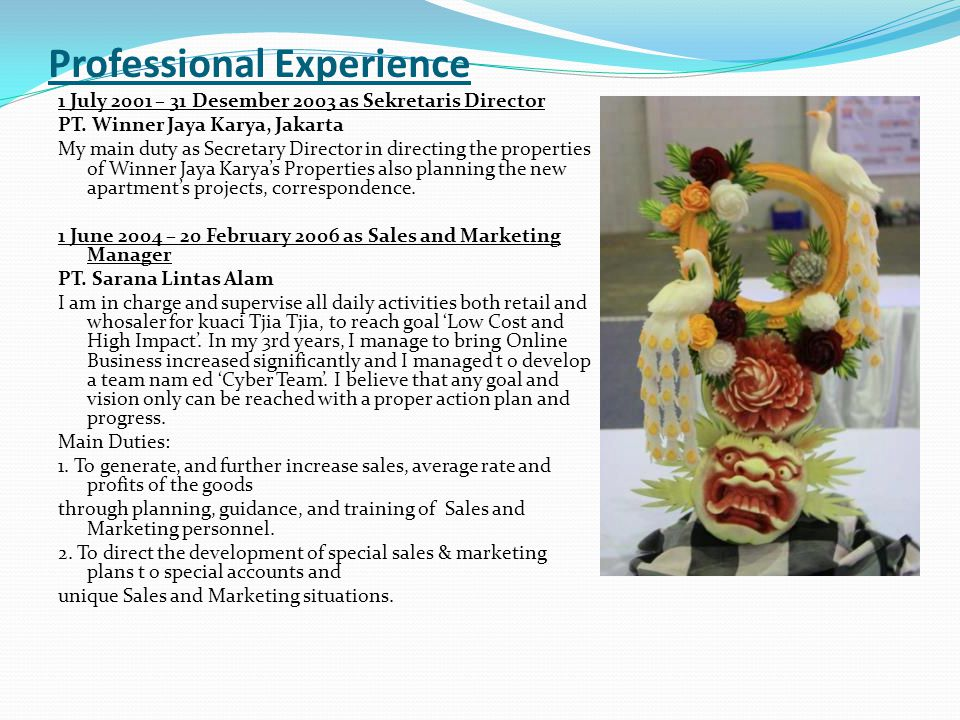 Professional Profile I have a diploma in Hotel Management from STP Bali (Hotel and Tourism Training Institute), Bali.