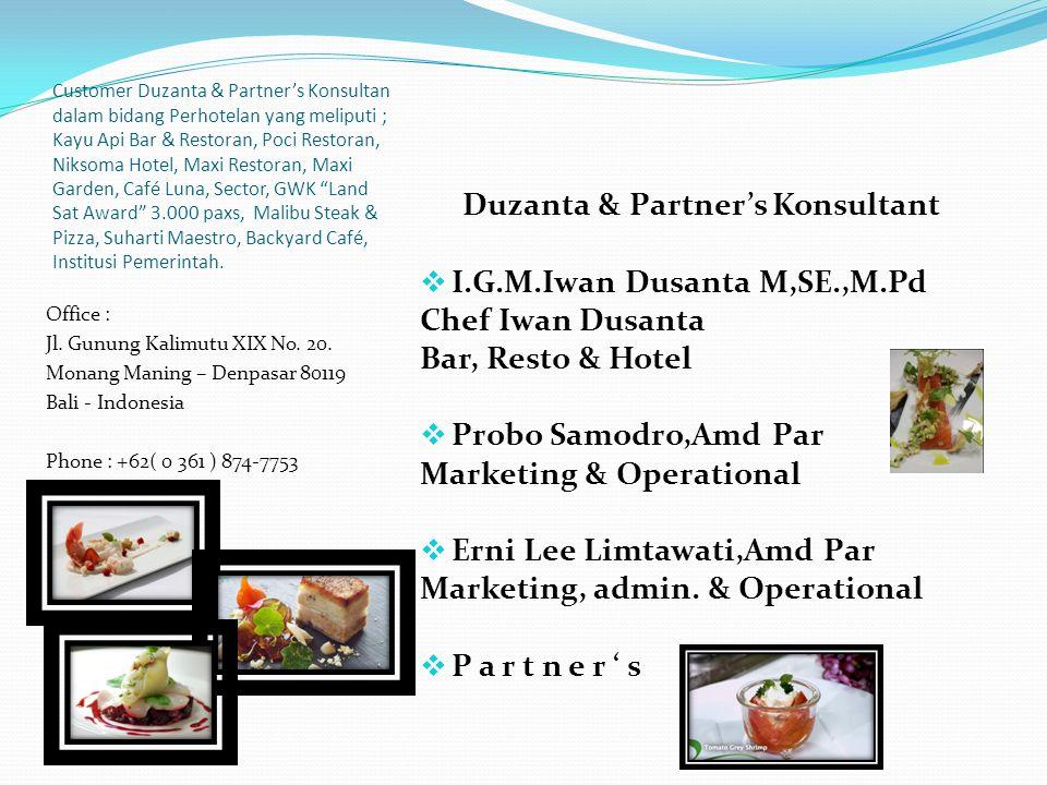 MISI Duzanta & Partner's Consultan adalah orang orang yang sudah berpengalaman dan mengerti pada bidangnya masing masing dan dalam keterkaitannya / hu