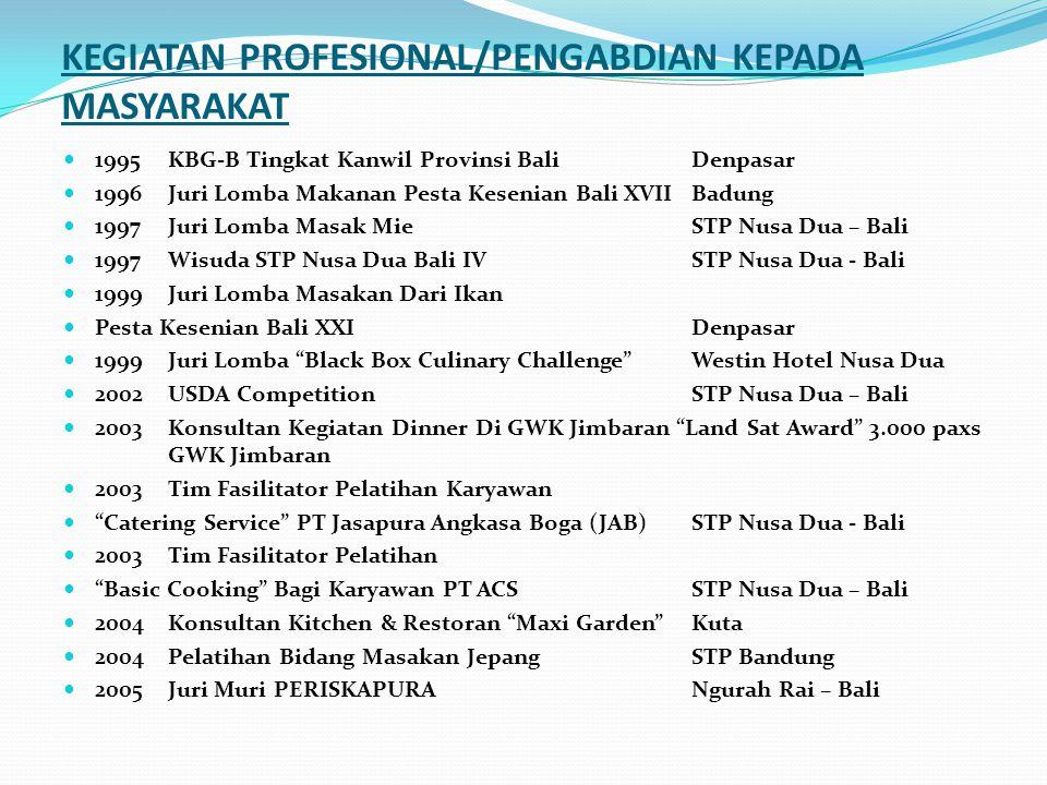 PELATIHAN PROFESIONAL 2012LSPLSP Parindo1 Minggu 2010LSPLSP Parindo1 Minggu 2008Work Place AssesorBNSP Indonesia1 Minggu 2005Japanese Midle CookingSTP