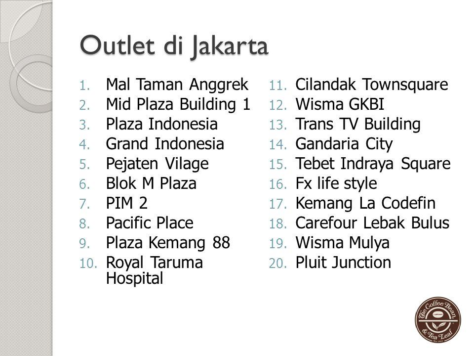 Pusat dan Cabang The Coffee Bean & Tea Leaf Pusat nya ada di Wisma TRANS Coffee Lt 3 Jl. Duren Tiga Raya kav 53 – 55 Jakarta Selatan 12760 Cabangnya a
