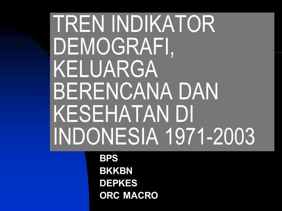 TREN INDIKATOR DEMOGRAFI, KELUARGA BERENCANA DAN KESEHATAN DI INDONESIA 1971-2003 BPS BKKBN DEPKES ORC MACRO