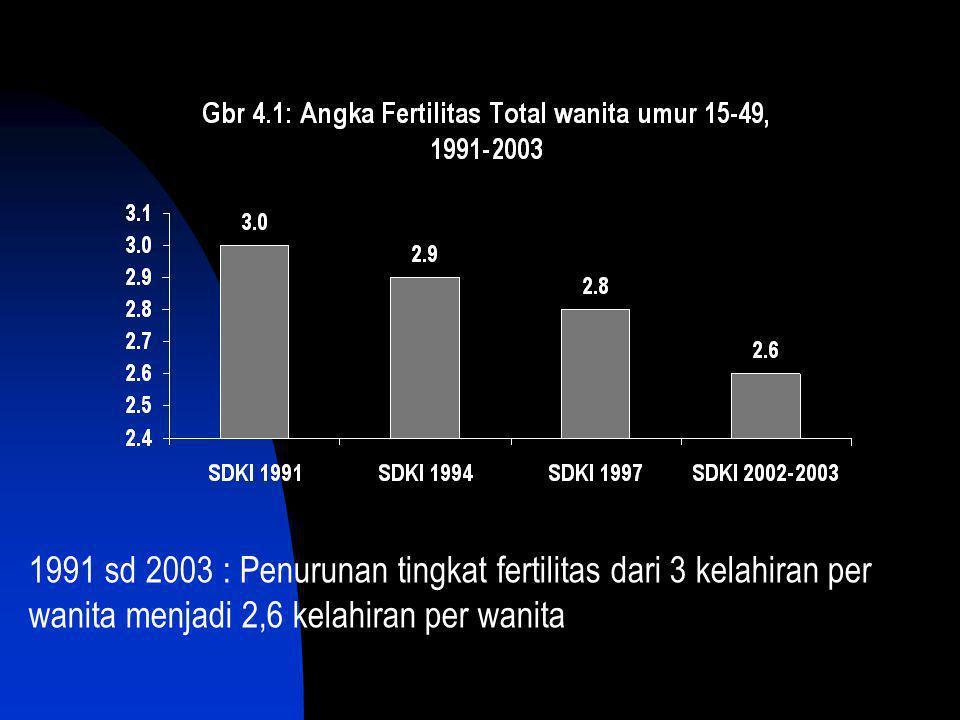 1991 sd 2003 : Penurunan tingkat fertilitas dari 3 kelahiran per wanita menjadi 2,6 kelahiran per wanita