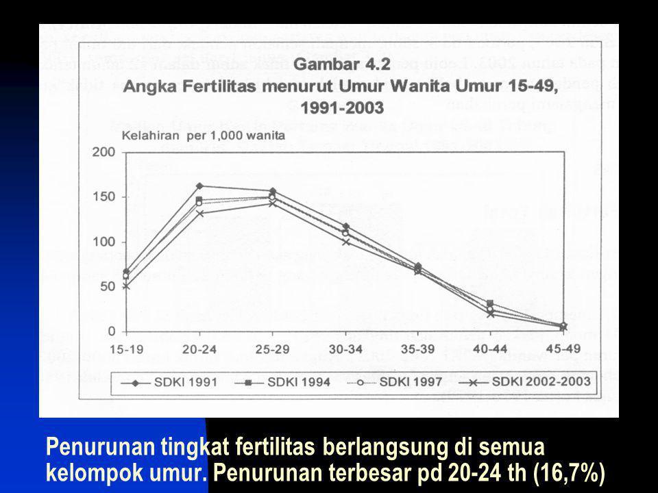 Penurunan tingkat fertilitas berlangsung di semua kelompok umur. Penurunan terbesar pd 20-24 th (16,7%)