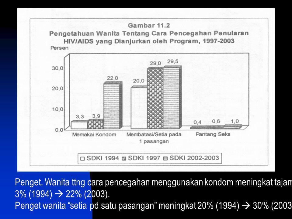 "Penget. Wanita ttng cara pencegahan menggunakan kondom meningkat tajam 3% (1994)  22% (2003). Penget wanita ""setia pd satu pasangan"" meningkat 20% (1"