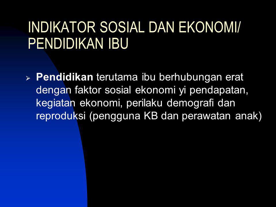 INDIKATOR SOSIAL DAN EKONOMI/ PENDIDIKAN IBU  Pendidikan terutama ibu berhubungan erat dengan faktor sosial ekonomi yi pendapatan, kegiatan ekonomi,