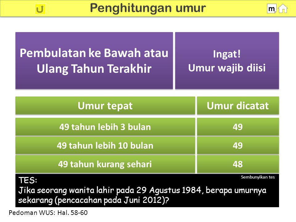 100% SDKI 2012 Penghitungan umur m TES: Jika seorang wanita lahir pada 29 Agustus 1984, berapa umurnya sekarang (pencacahan pada Juni 2012).
