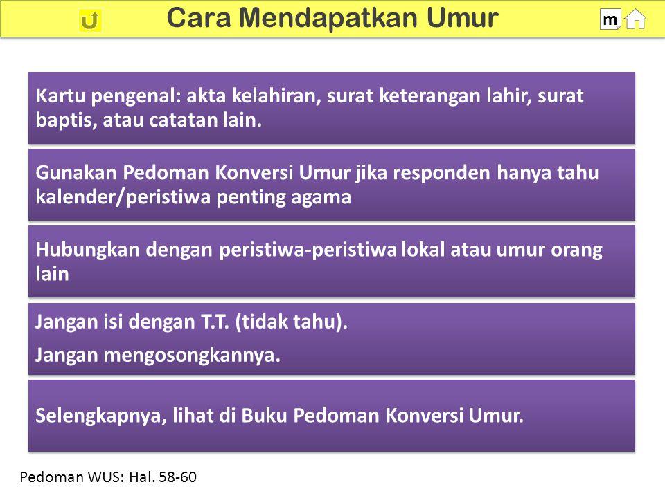100% SDKI 2012 Pemeriksaan Umur m Bila Bulan dan Tahun Lahir Dicatat Di P102 Tunjukkan tes Pedoman WUS: Hal.