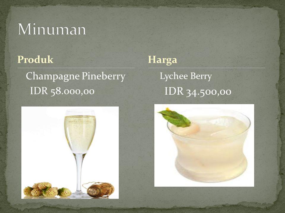 Produk Champagne Pineberry IDR 58.000,00 Harga Lychee Berry IDR 34.500,00