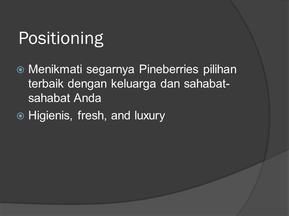Positioning  Menikmati segarnya Pineberries pilihan terbaik dengan keluarga dan sahabat- sahabat Anda  Higienis, fresh, and luxury