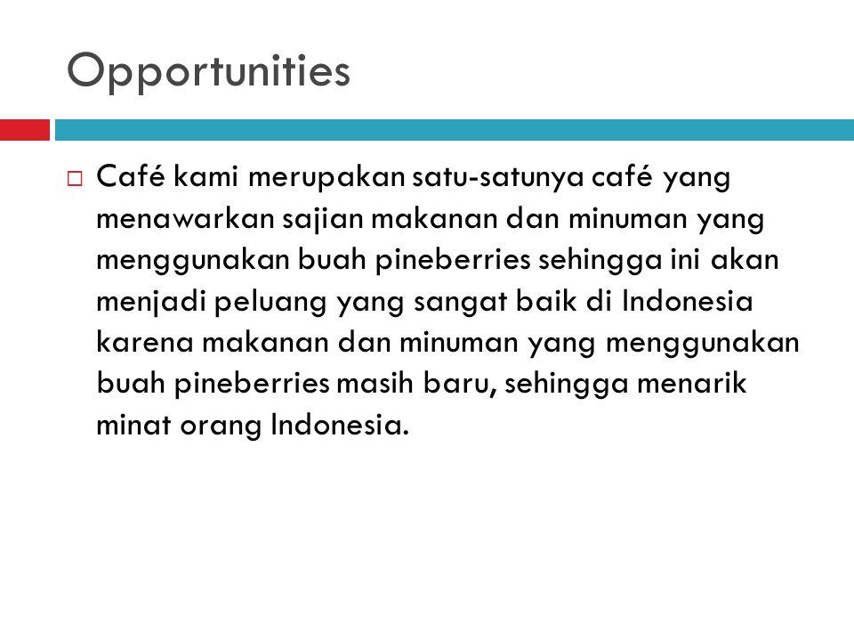 Opportunities  Café kami merupakan satu-satunya café yang menawarkan sajian makanan dan minuman yang menggunakan buah pineberries sehingga ini akan menjadi peluang yang sangat baik di Indonesia karena makanan dan minuman yang menggunakan buah pineberries masih baru, sehingga menarik minat orang Indonesia.