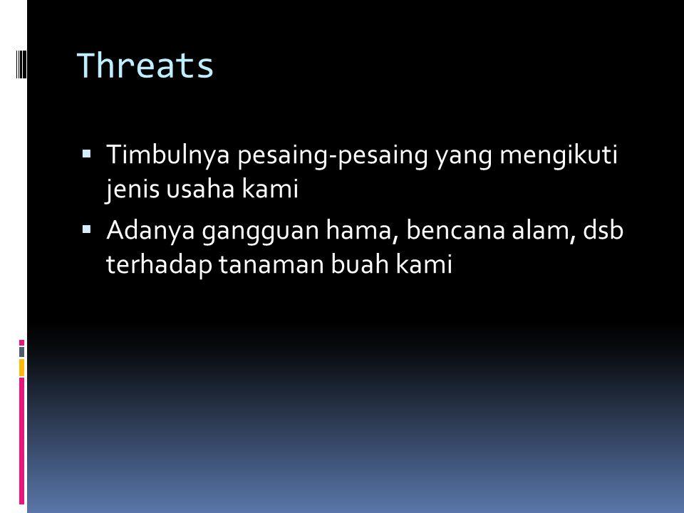 Threats  Timbulnya pesaing-pesaing yang mengikuti jenis usaha kami  Adanya gangguan hama, bencana alam, dsb terhadap tanaman buah kami
