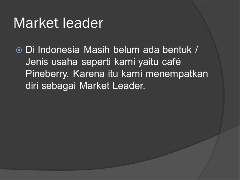 Market leader  Di Indonesia Masih belum ada bentuk / Jenis usaha seperti kami yaitu café Pineberry.