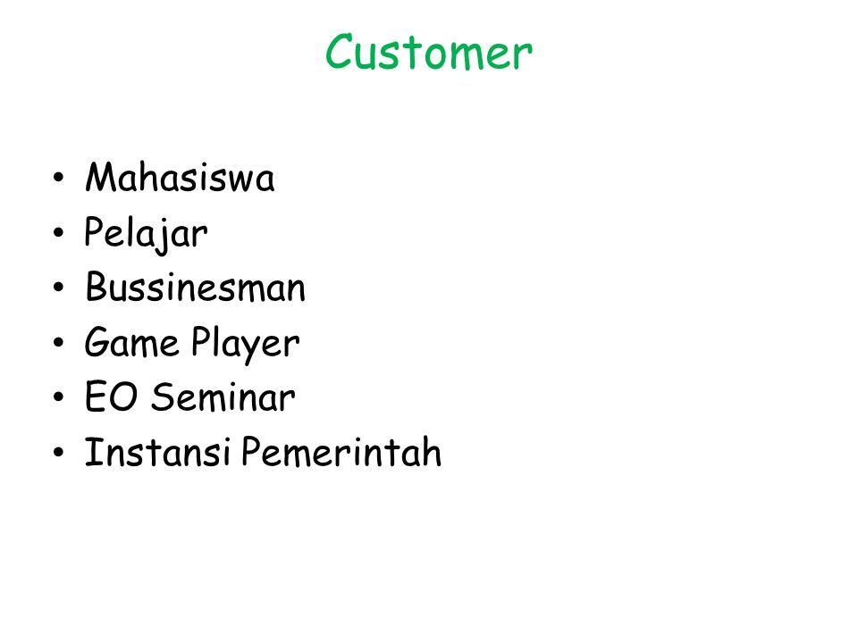 Customer Mahasiswa Pelajar Bussinesman Game Player EO Seminar Instansi Pemerintah