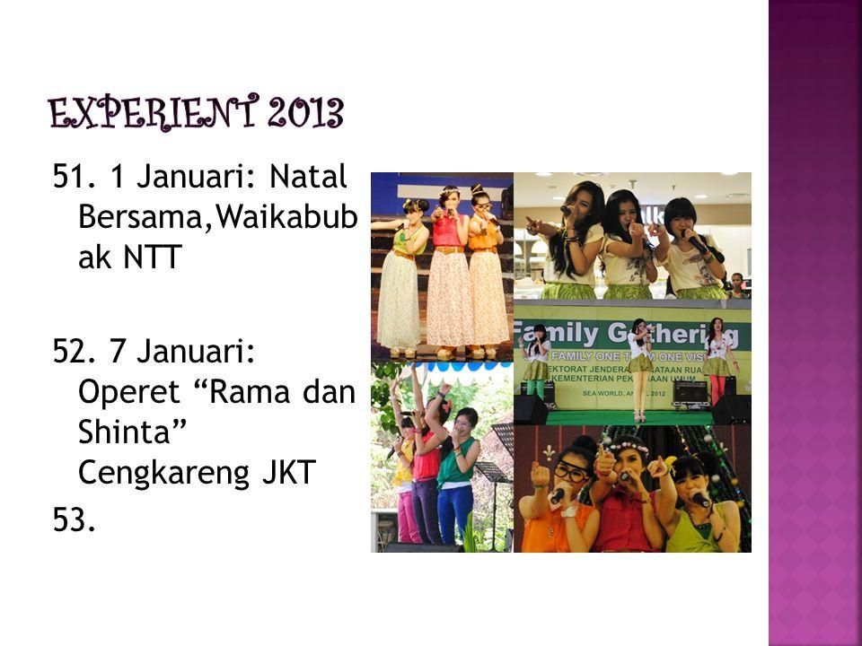"""51. 1 Januari: Natal Bersama,Waikabub ak NTT 52. 7 Januari: Operet """"Rama dan Shinta"""" Cengkareng JKT 53."""
