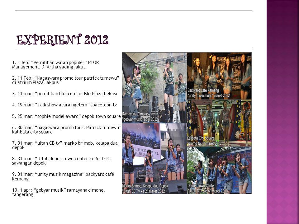 "1. 4 feb: ""Pemilihan wajah populer"" PLOR Management, Di Artha gading jakut 2. 11 Feb: ""Nagaswara promo tour patrick tumewu"" di atrium Plaza Jakpus 3."
